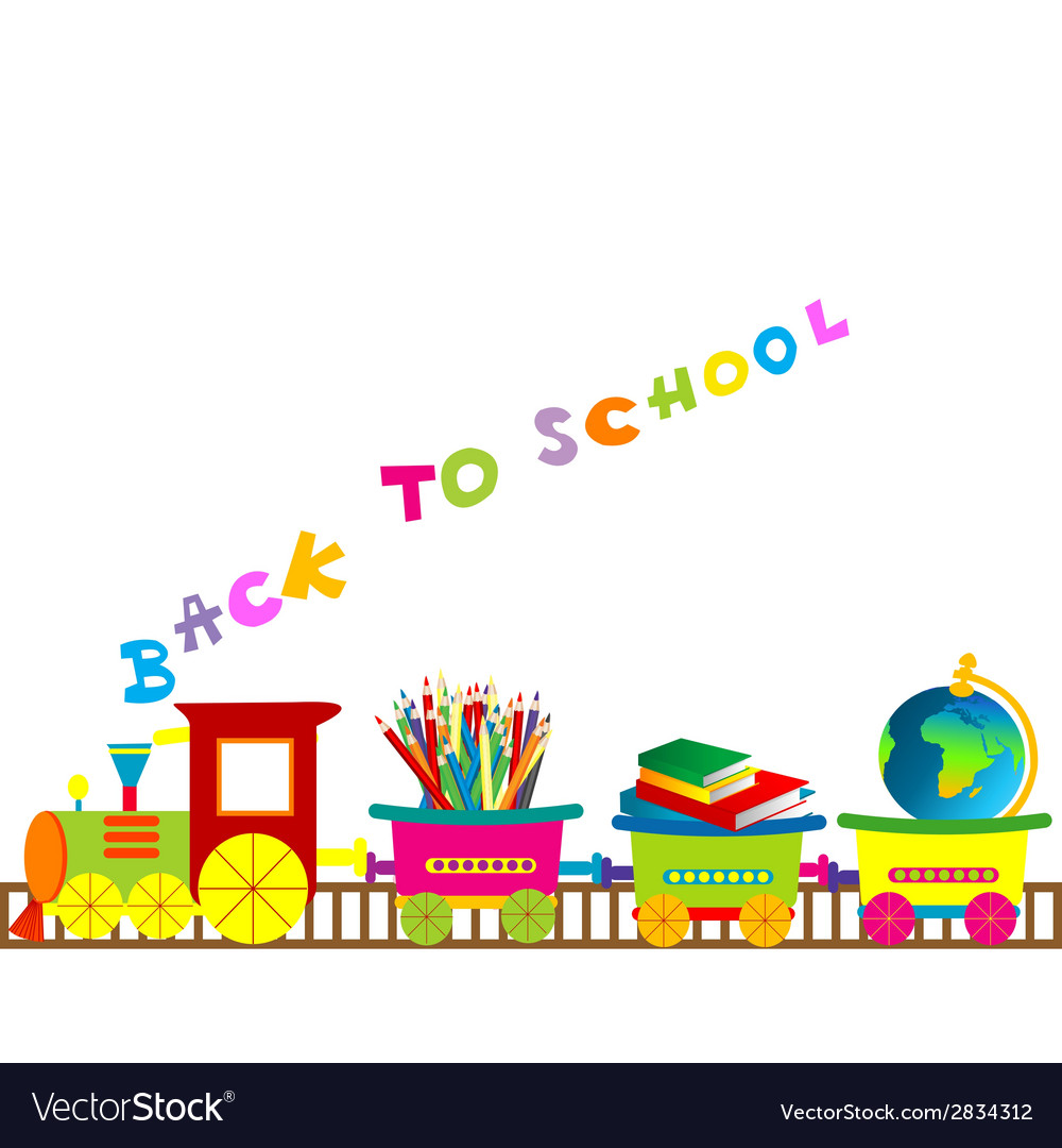 Back to school with cartoon train vector image