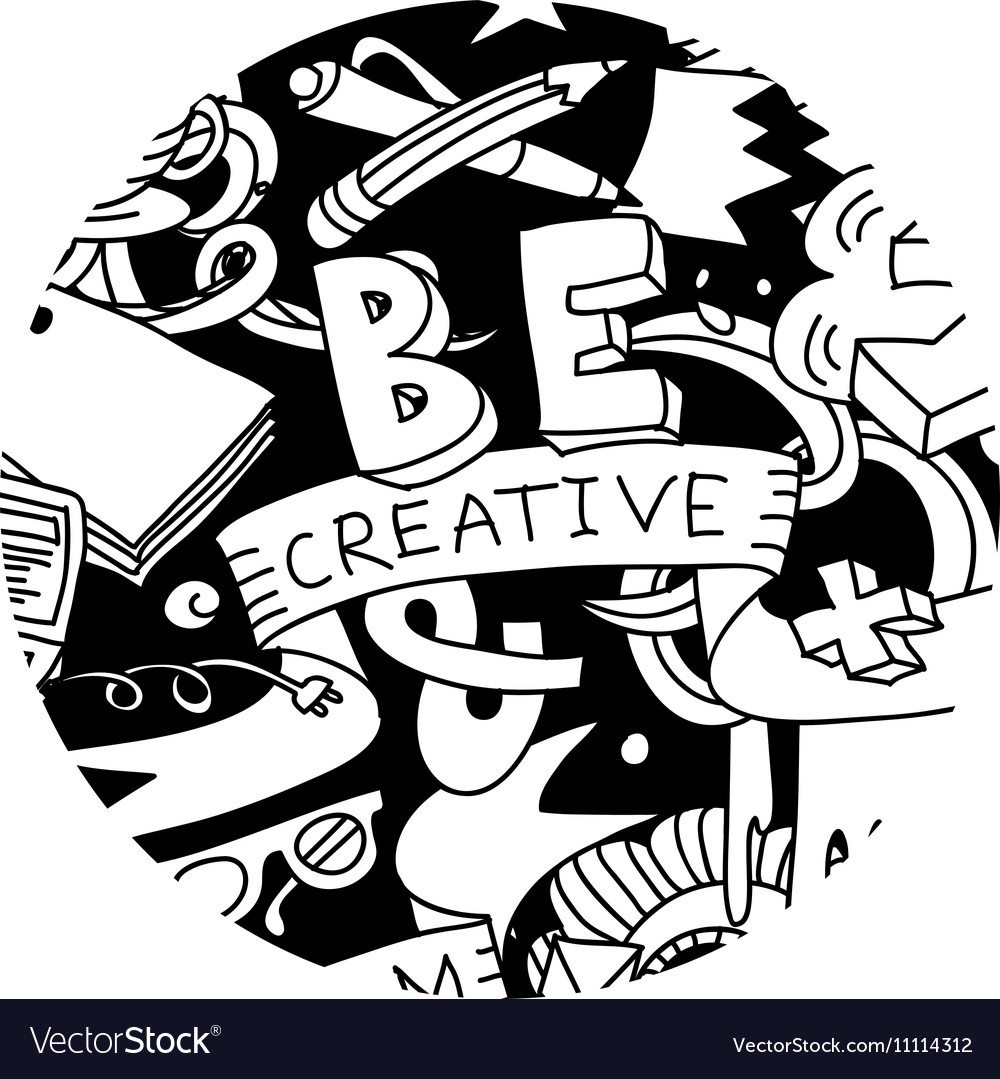 Creative pen idea doodles symbol round black and vector image