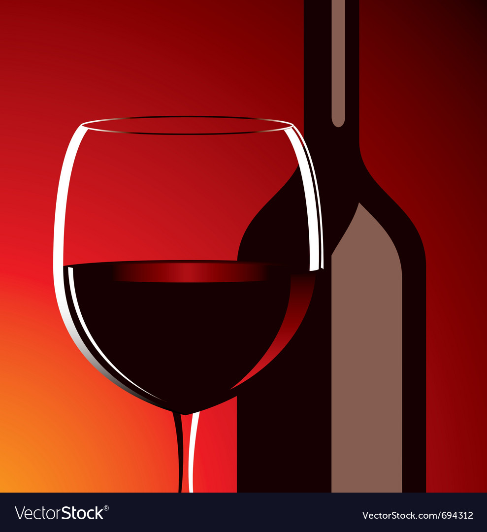 Wine glass and bottle vector image