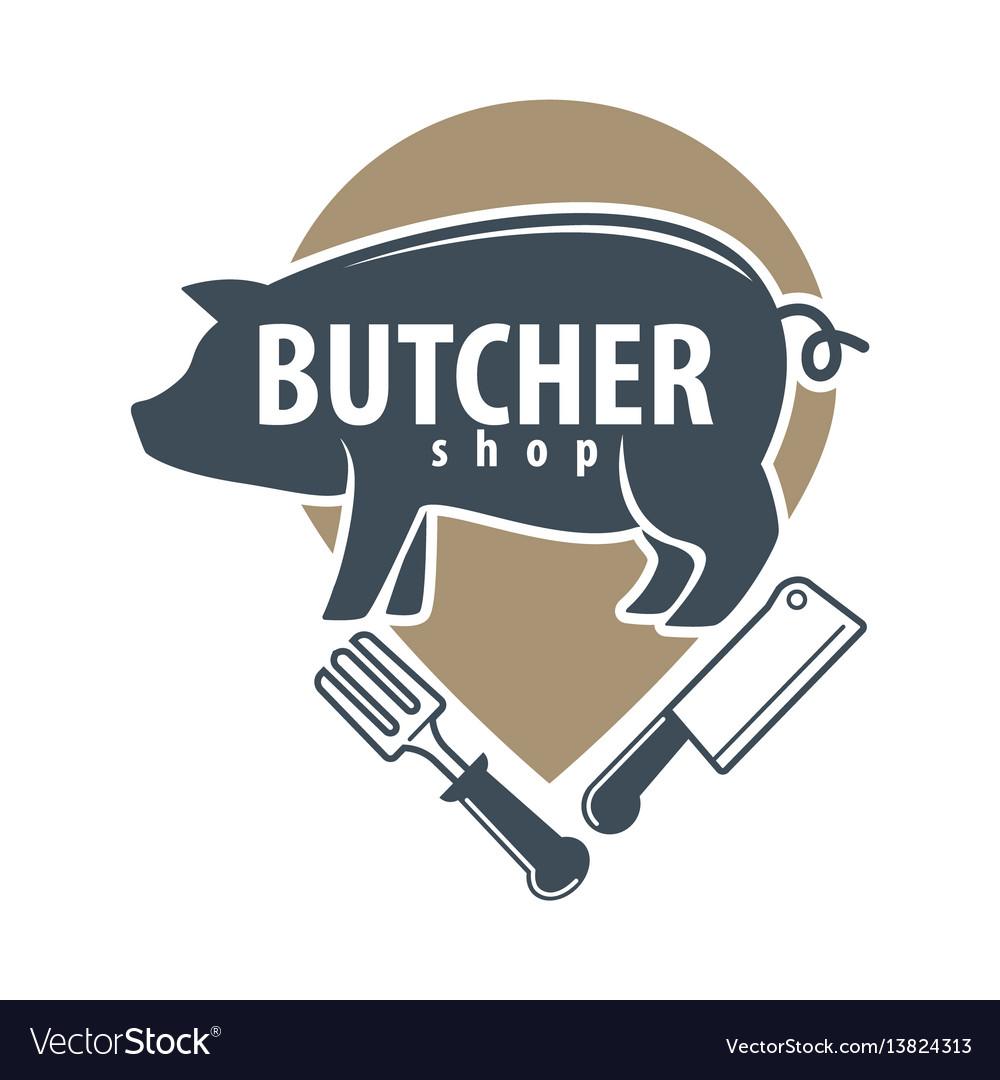 Butcher shop logo emblem with pig on white vector image
