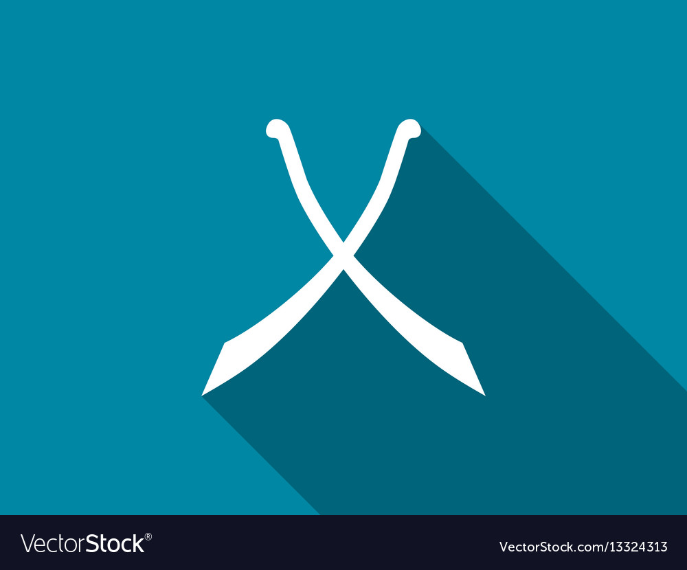 Crossed swords with long shadow scimitar icon vector image