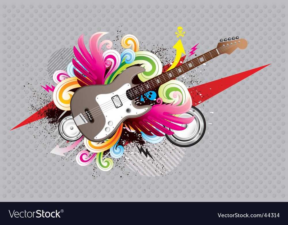 Guitar urban vector image