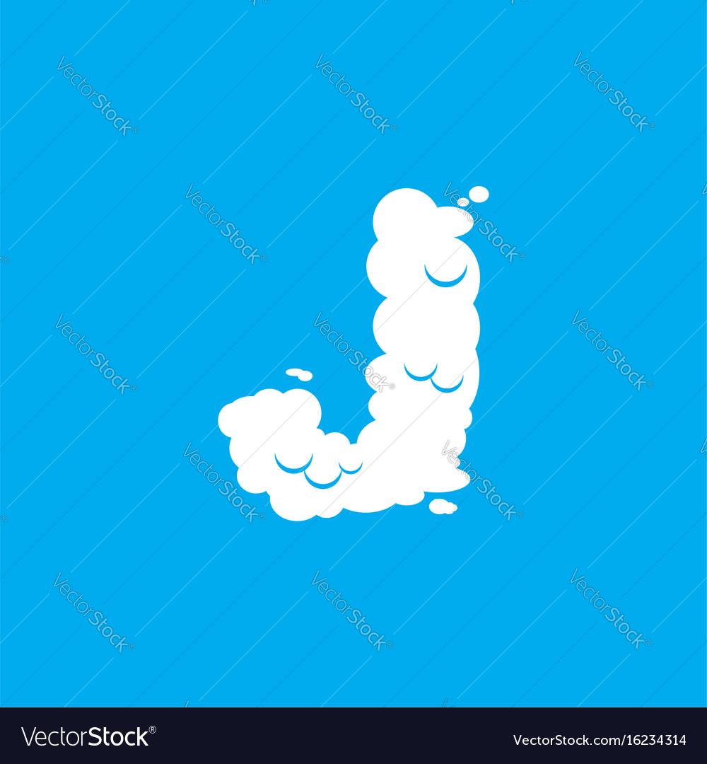 Letter j cloud font symbol white alphabet sign on vector image