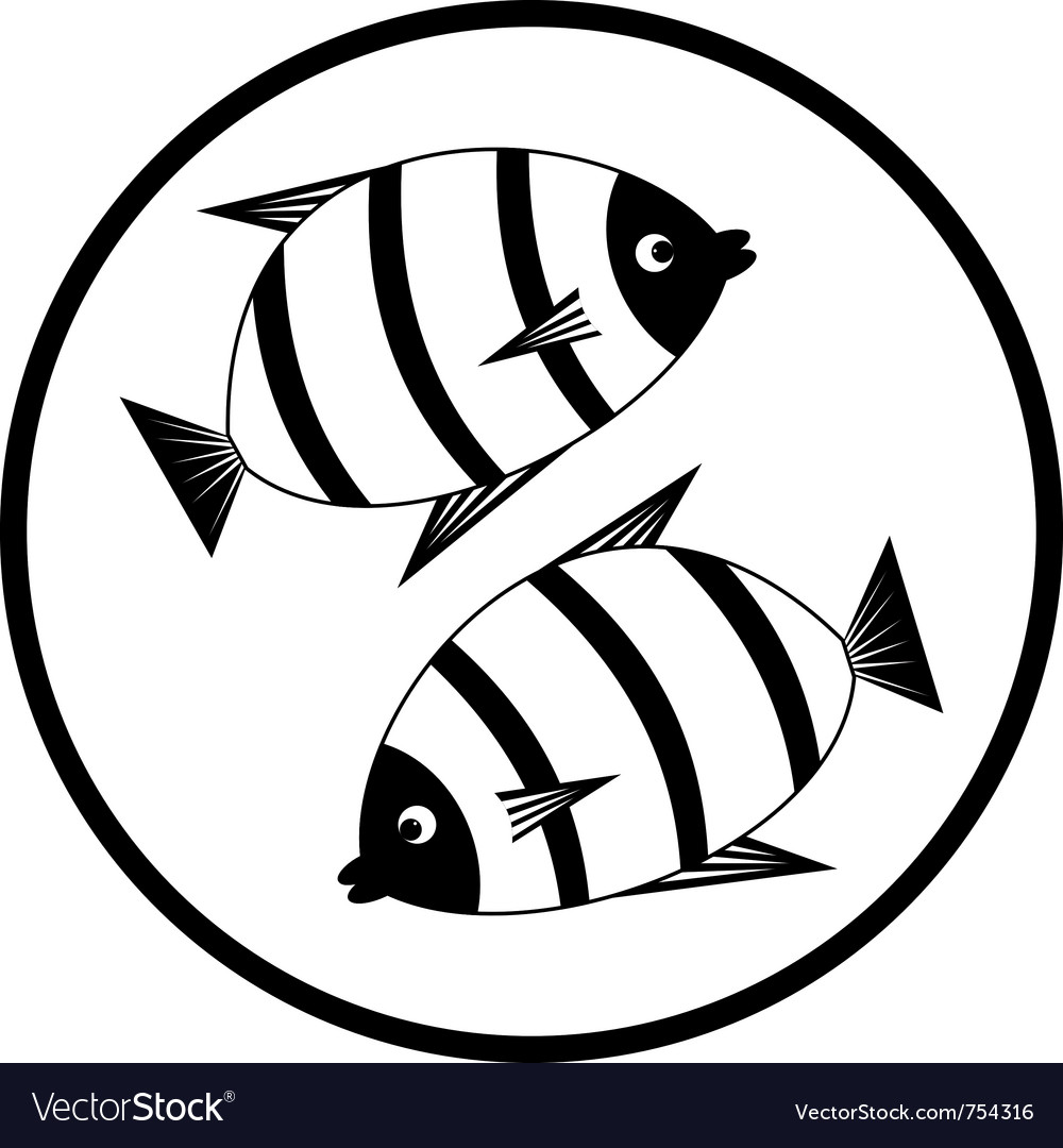 Emblem with fishes vector image