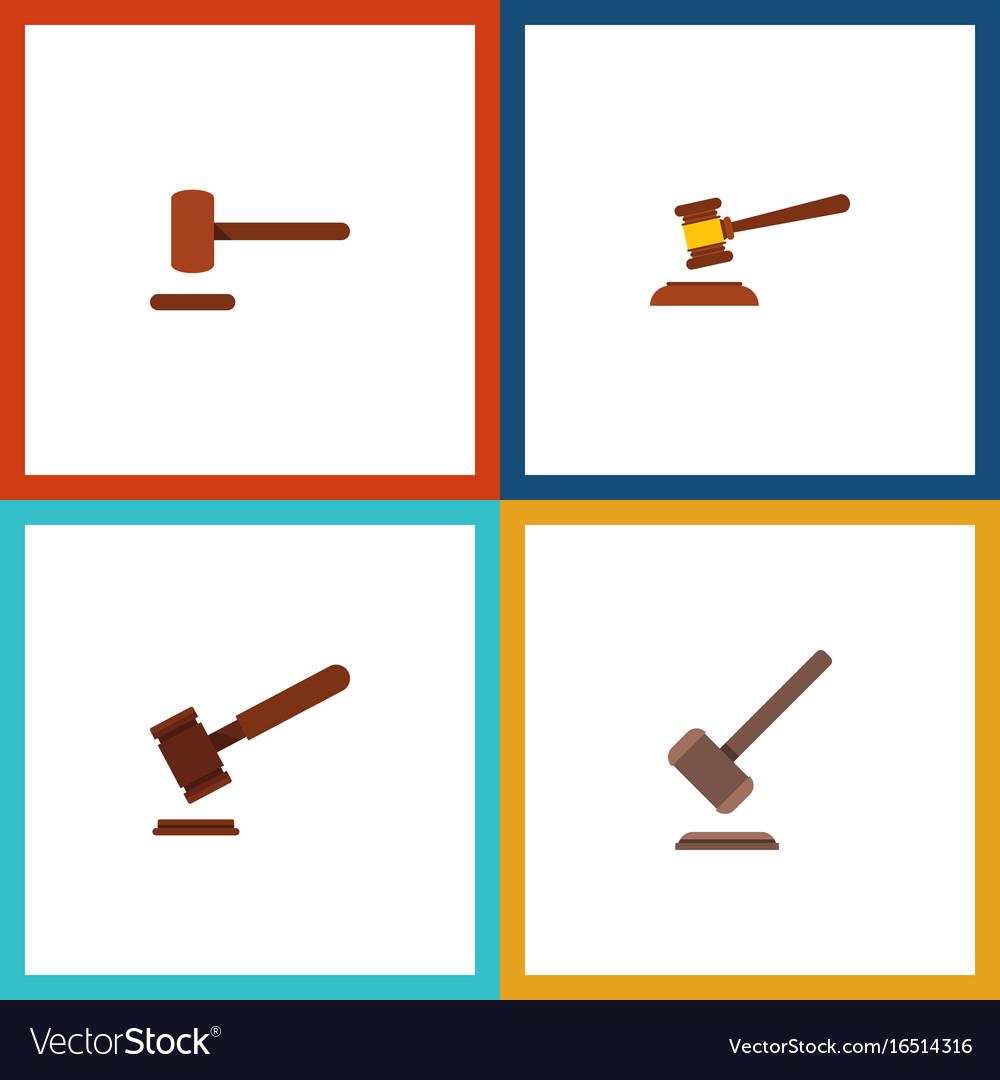 Flat icon hammer set of justice tribunal defense vector image