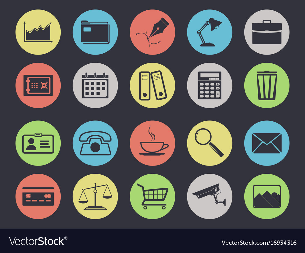 Office icons set isolated on black vector image