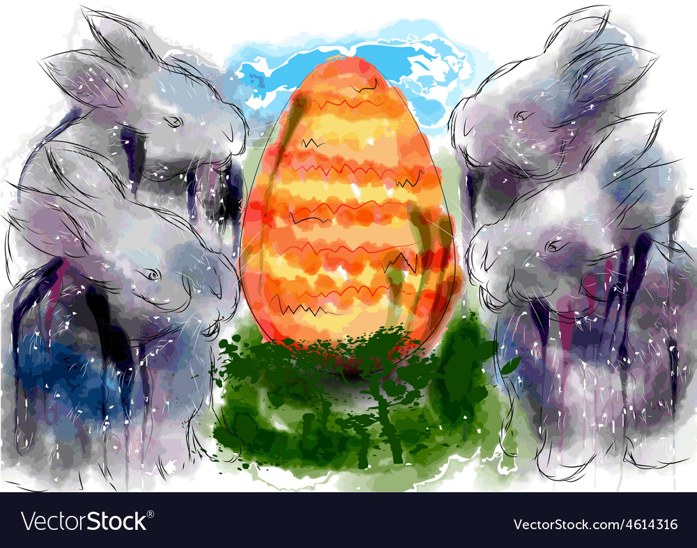 Rabbits and egg vector image