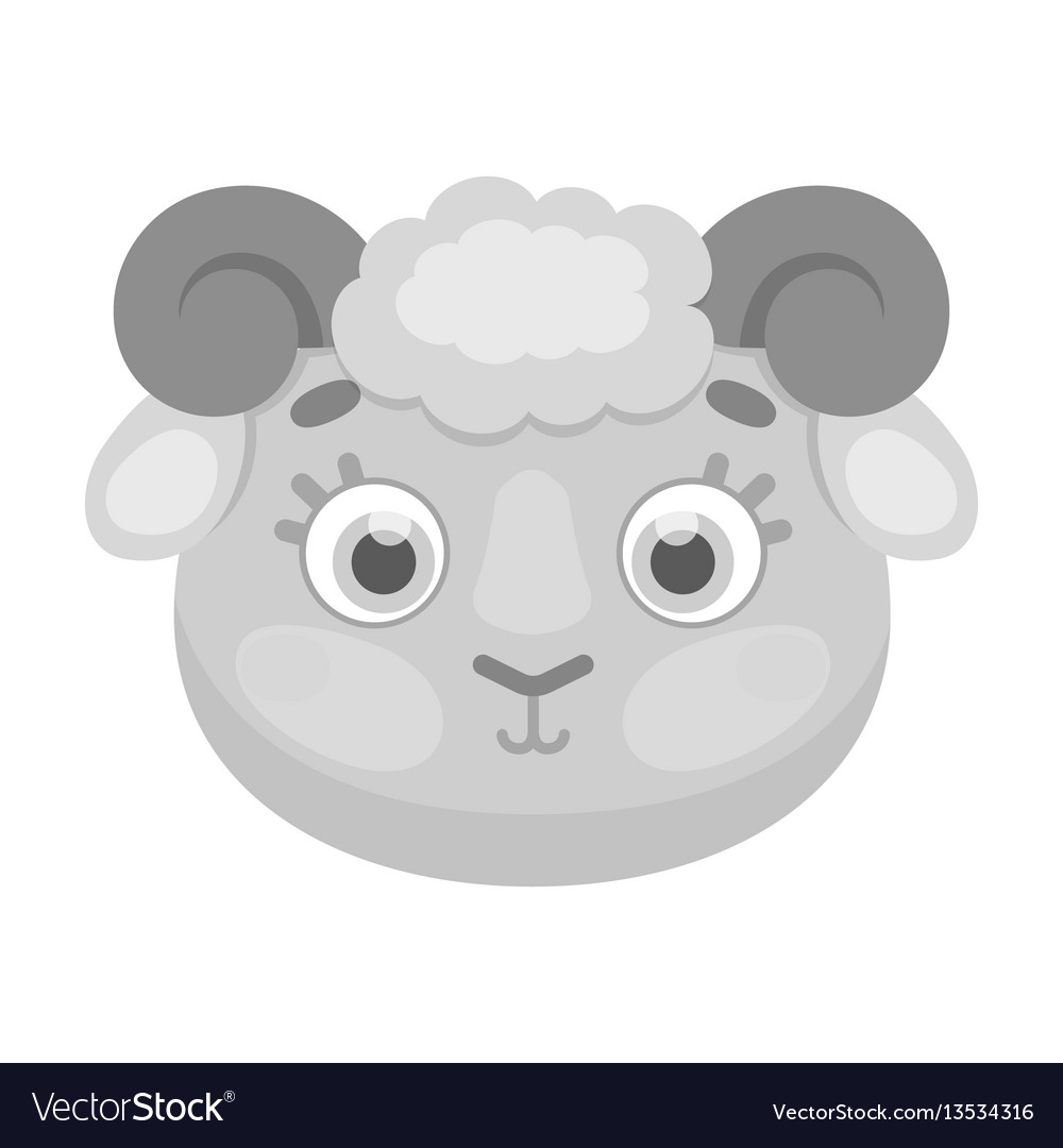 Ram muzzle icon in monochrome style isolated on vector image