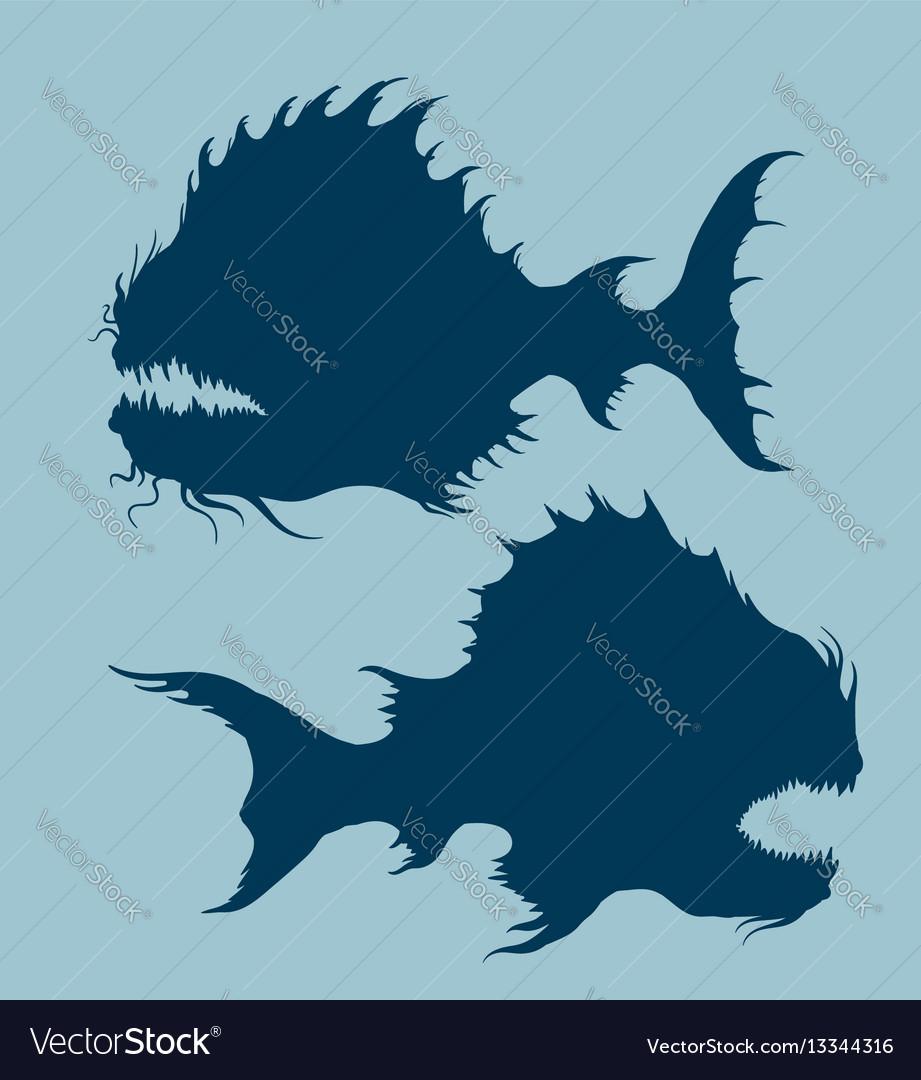 Sea monsters set vector image