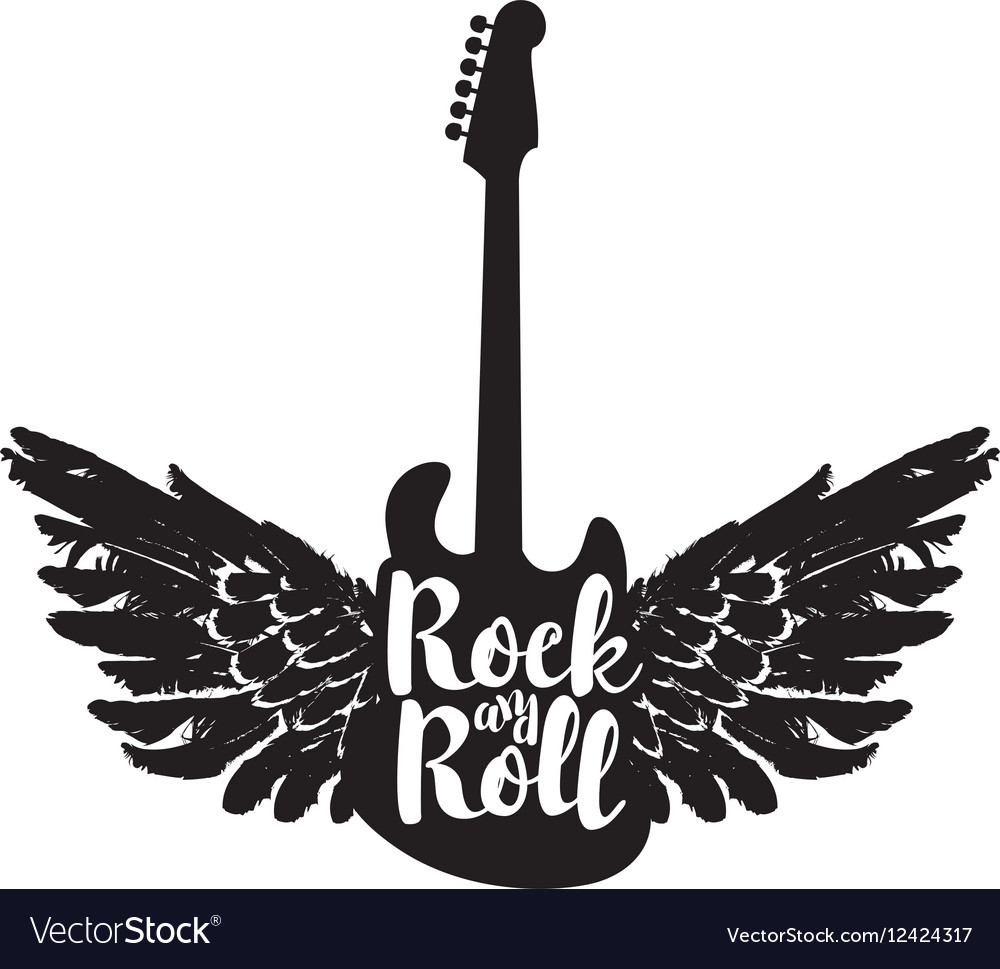 Guitar and the words rock and roll vector image