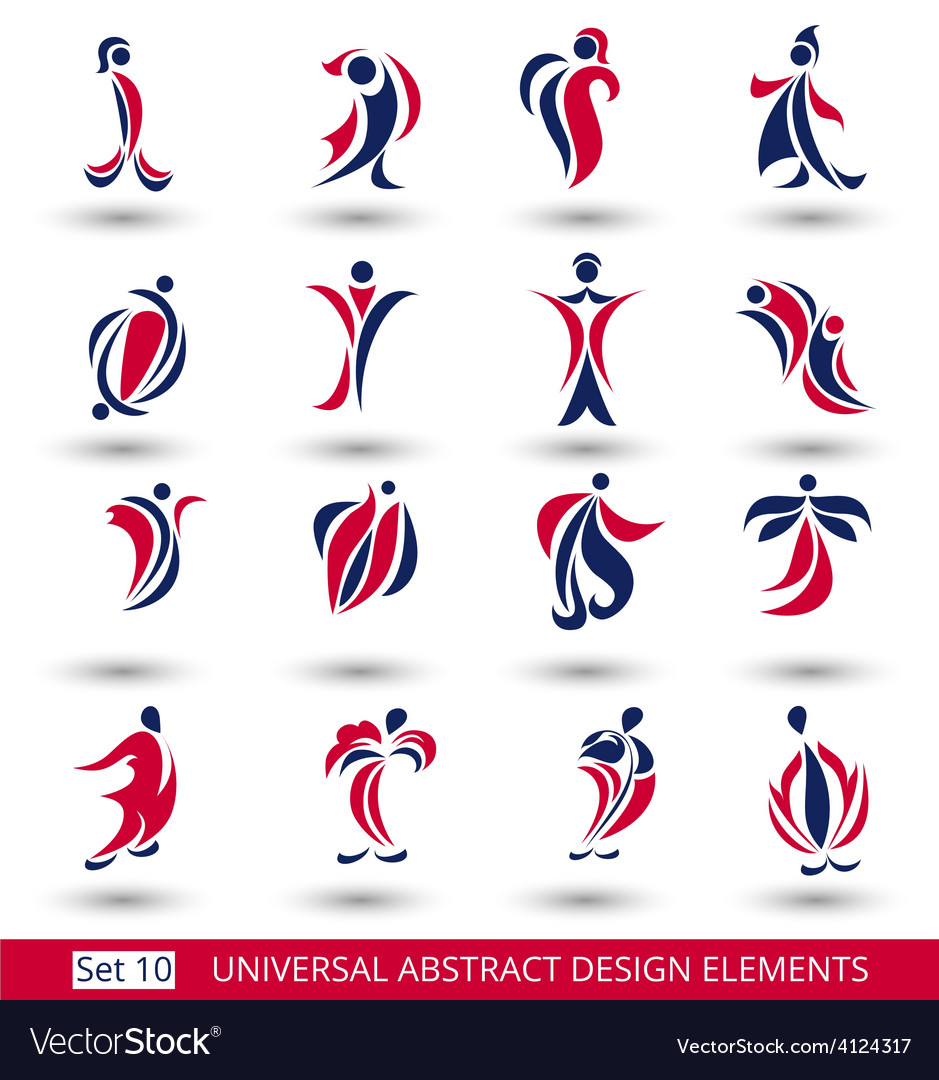 Set of different abstract flat red elements vector image