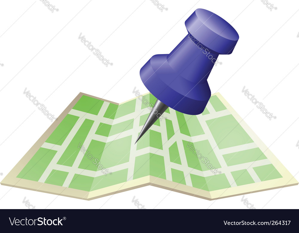 Street map with drawing pin vector image