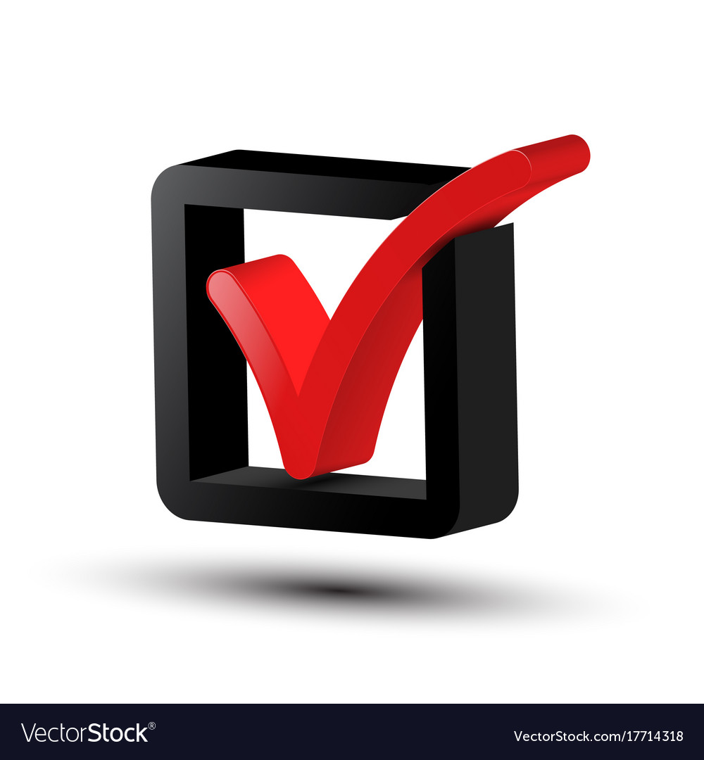 Red Tick Box : D tick symbol red and black checkbox icon vector image
