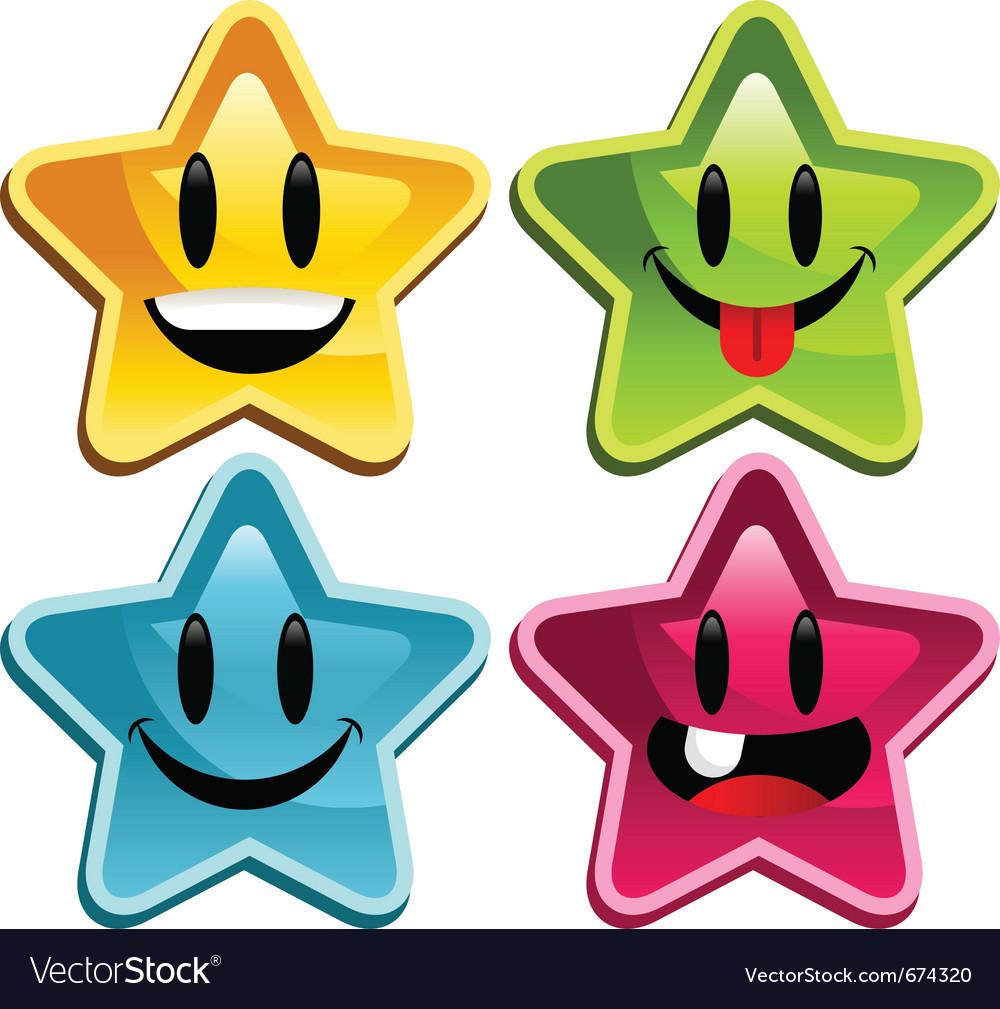 Happy smiley stars vector image
