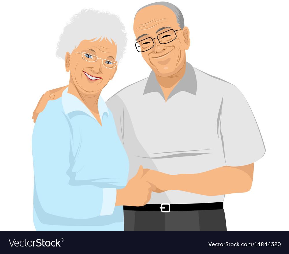 Older couple hugs vector image