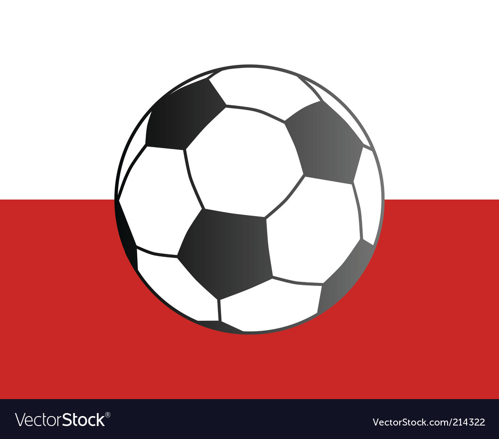 Flag of Poland and soccer ball vector image
