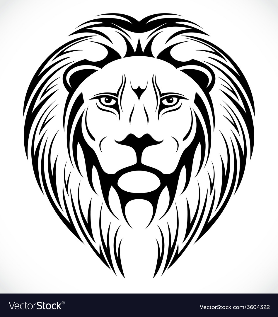 Lions Head Tattoo Design vector image