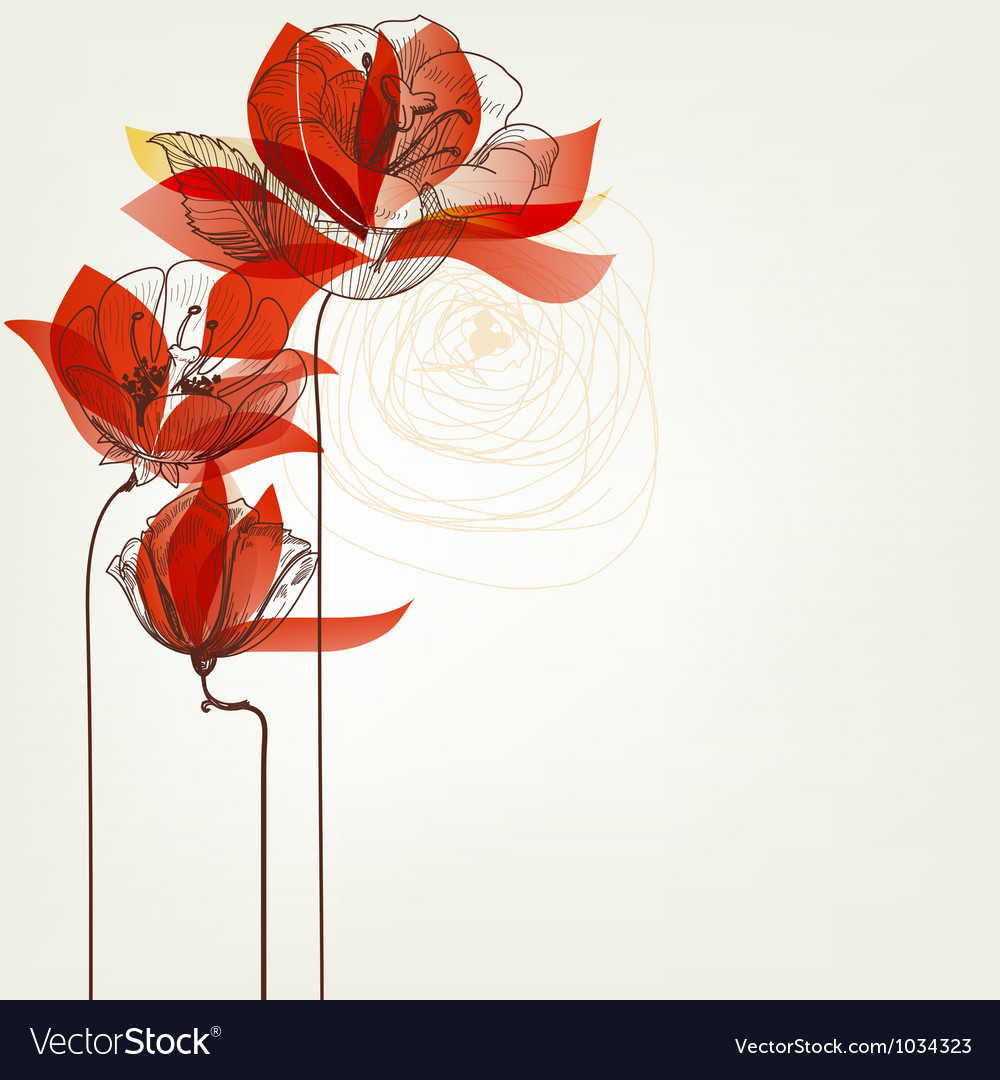 Flowers greeting card vector image