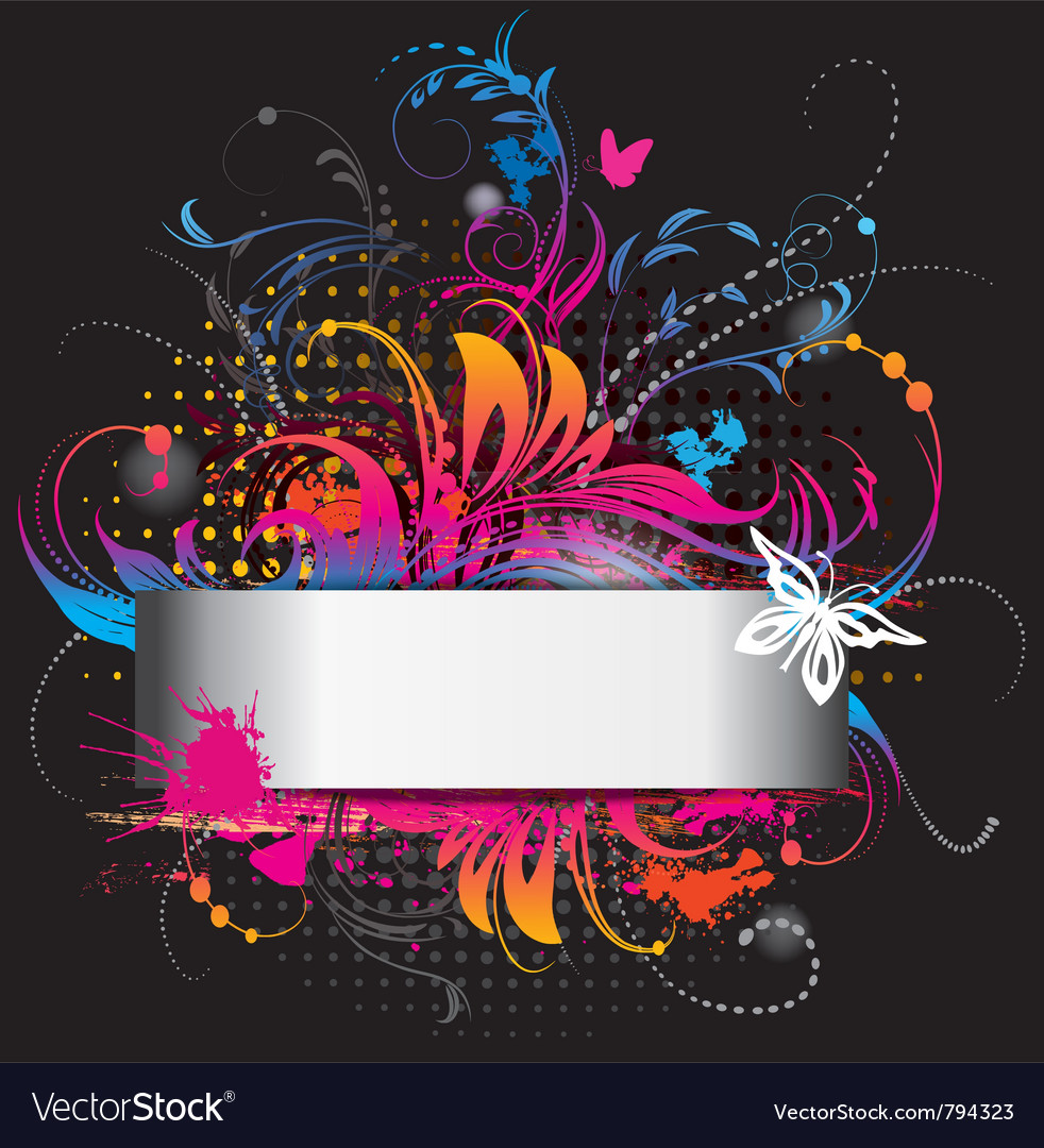 Background with flower ornament on black vector image