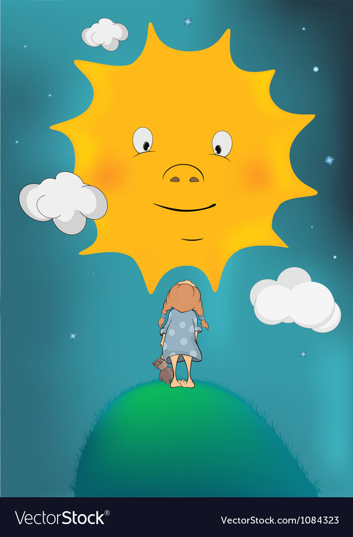 The girl and the sun vector image