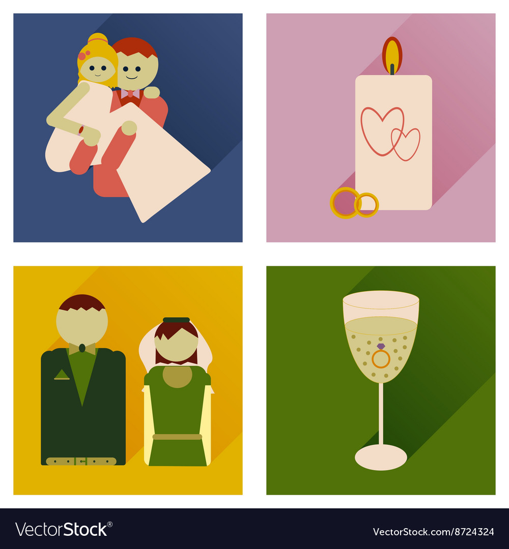 Set of flat icons with long shadow wedding