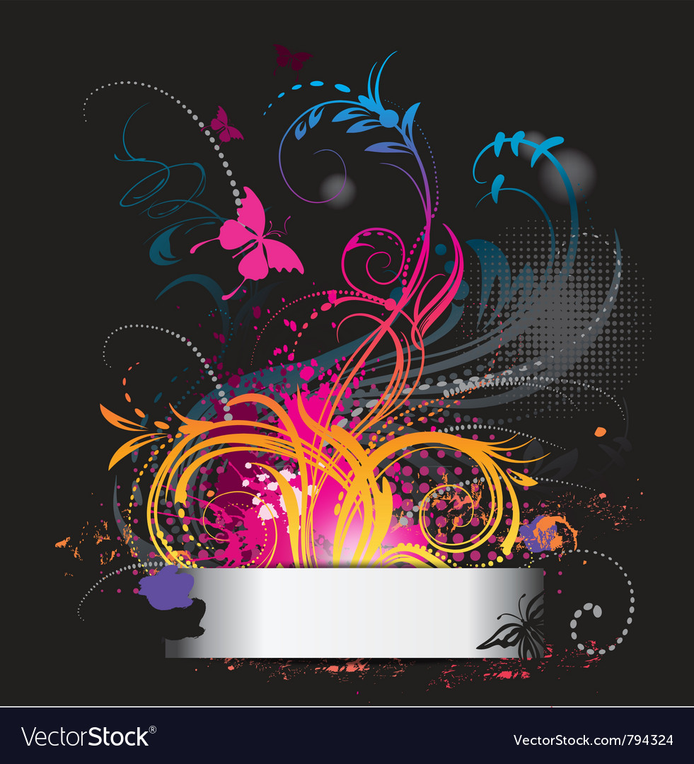 Background with flower ornament with butterfly vector image