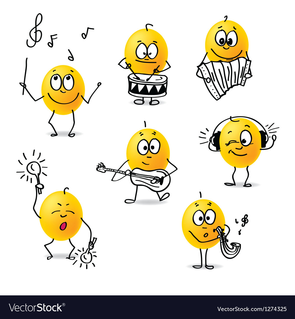Smiley musical instruments vector image