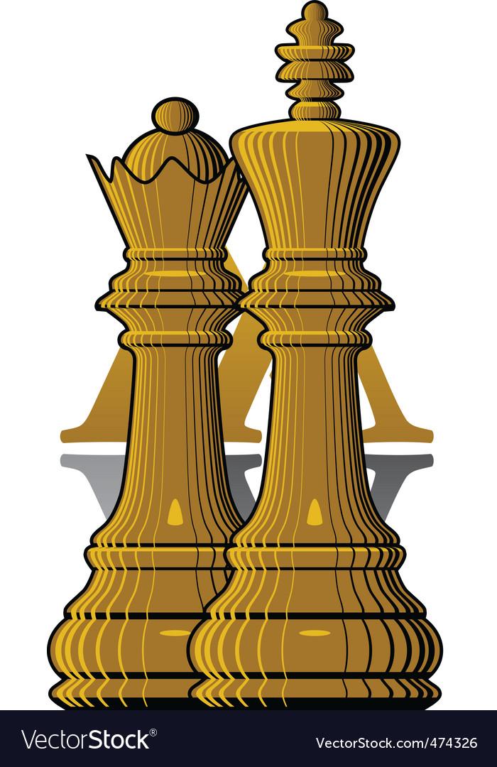 Chess king queen Royalty Free Vector Image - VectorStock