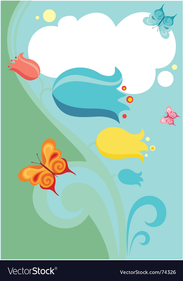 Flower and butterflies vector image