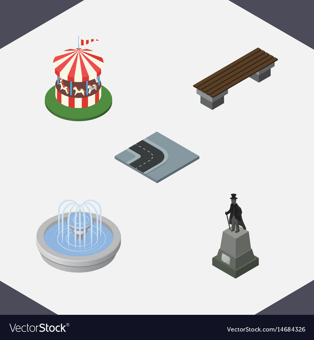 Isometric architecture set of bench carousel vector image