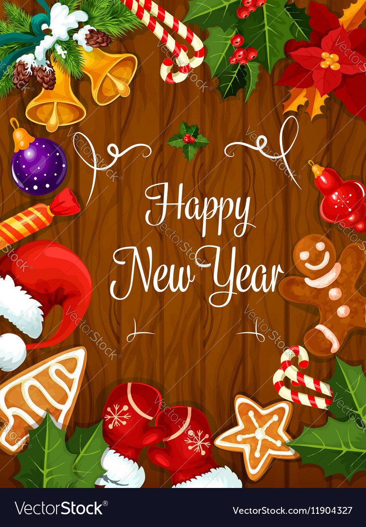 Happy new year best wishes poster royalty free vector image happy new year best wishes poster vector image kristyandbryce Image collections