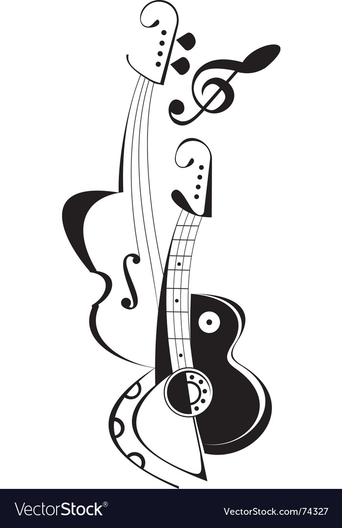 Musical instruments tattoo vector image