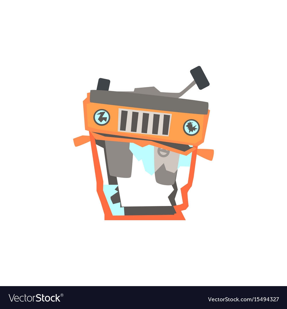 Red car overturned damaged by accident cartoon vector image