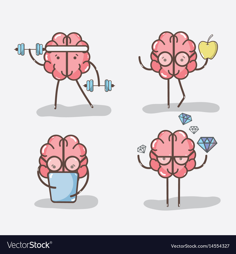 Set icon adorable kawaii brain doing different vector image