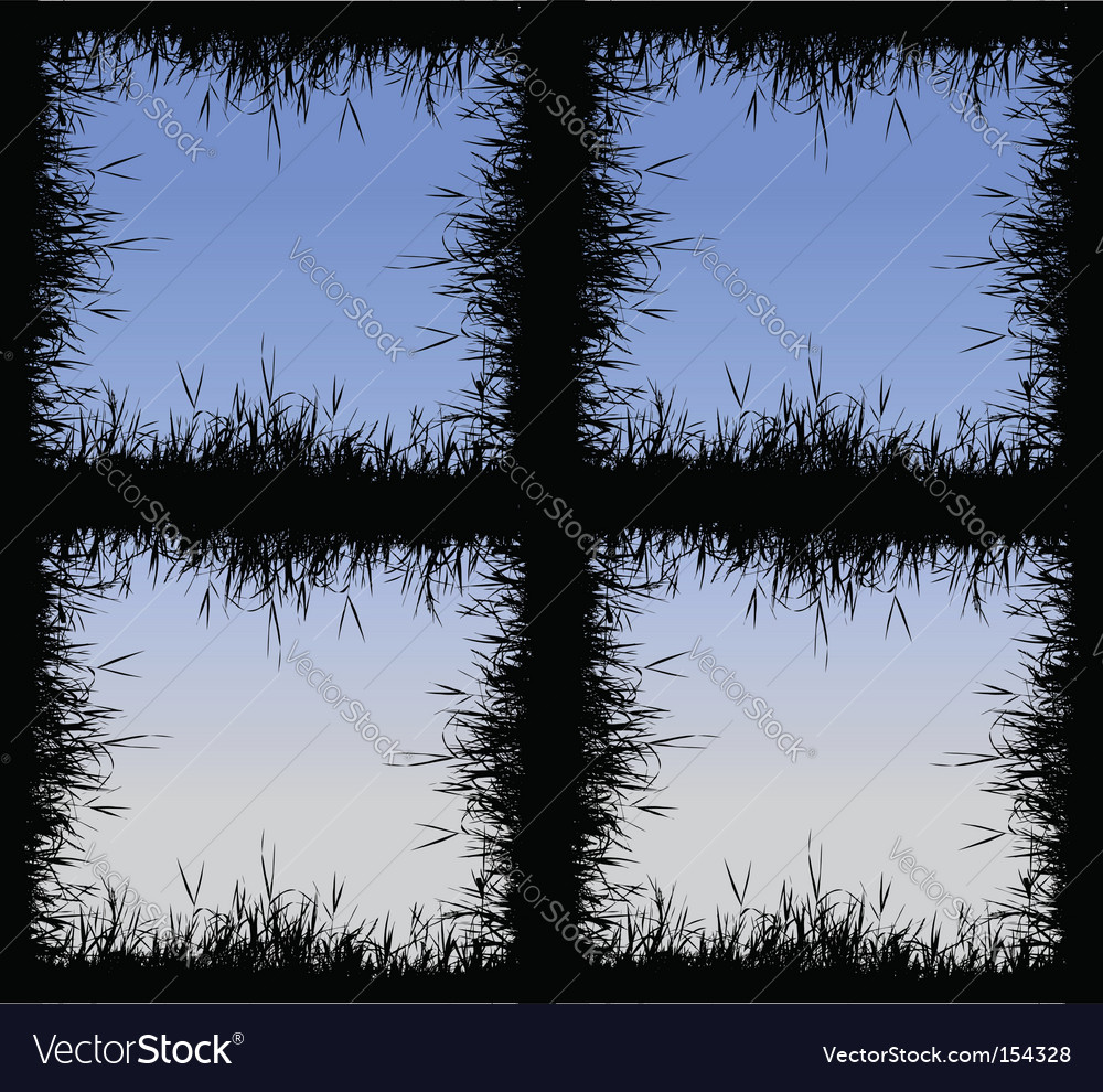 Grass silhouette frame vector image