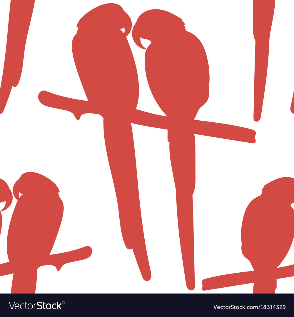 Seamless pattern with red silhouettes of parrots vector image