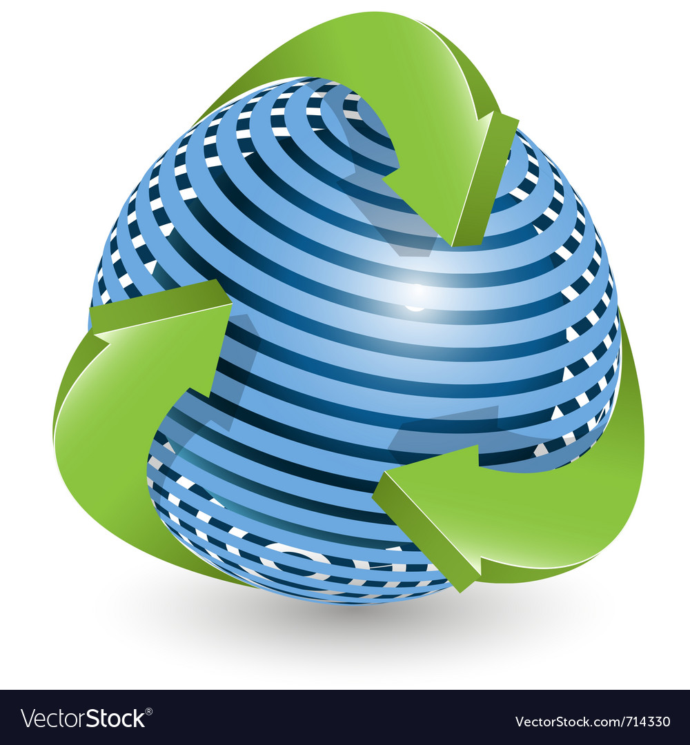 Arrows around blue ball vector image