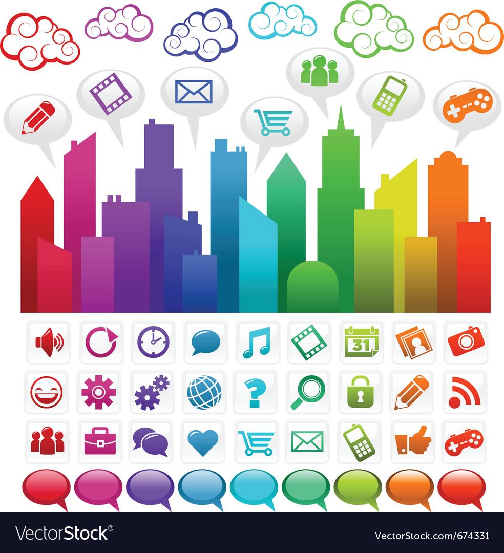 Rainbow social media city Vector Image