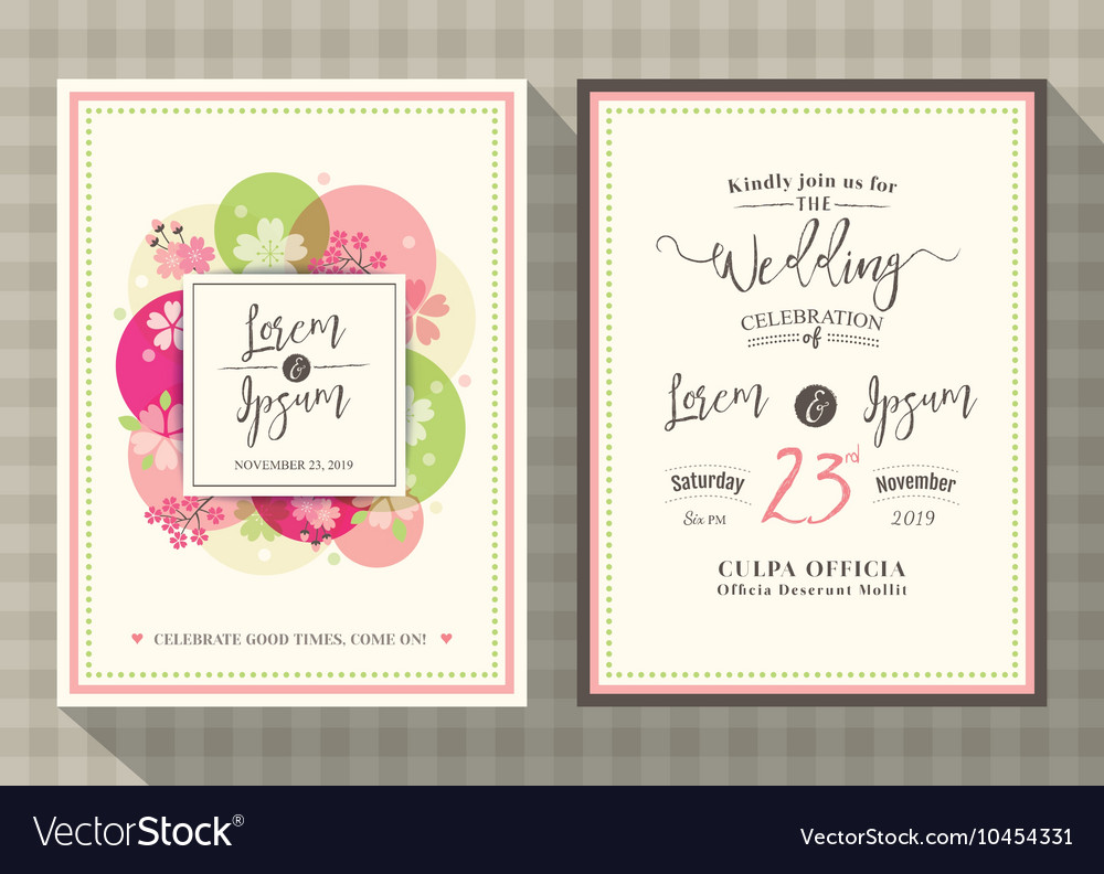 Floral cherry blossom wedding invitation card Vector Image