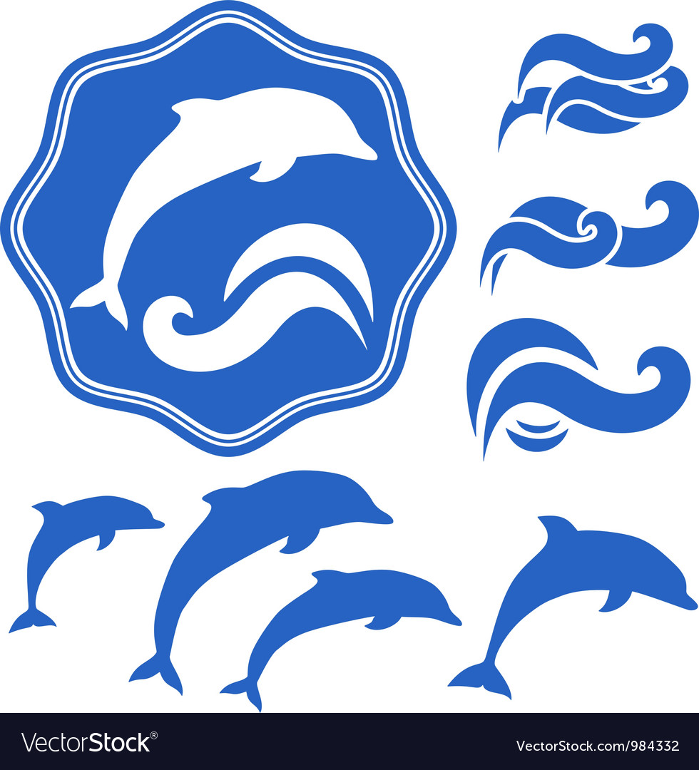 Dolphins silhouettes vector image