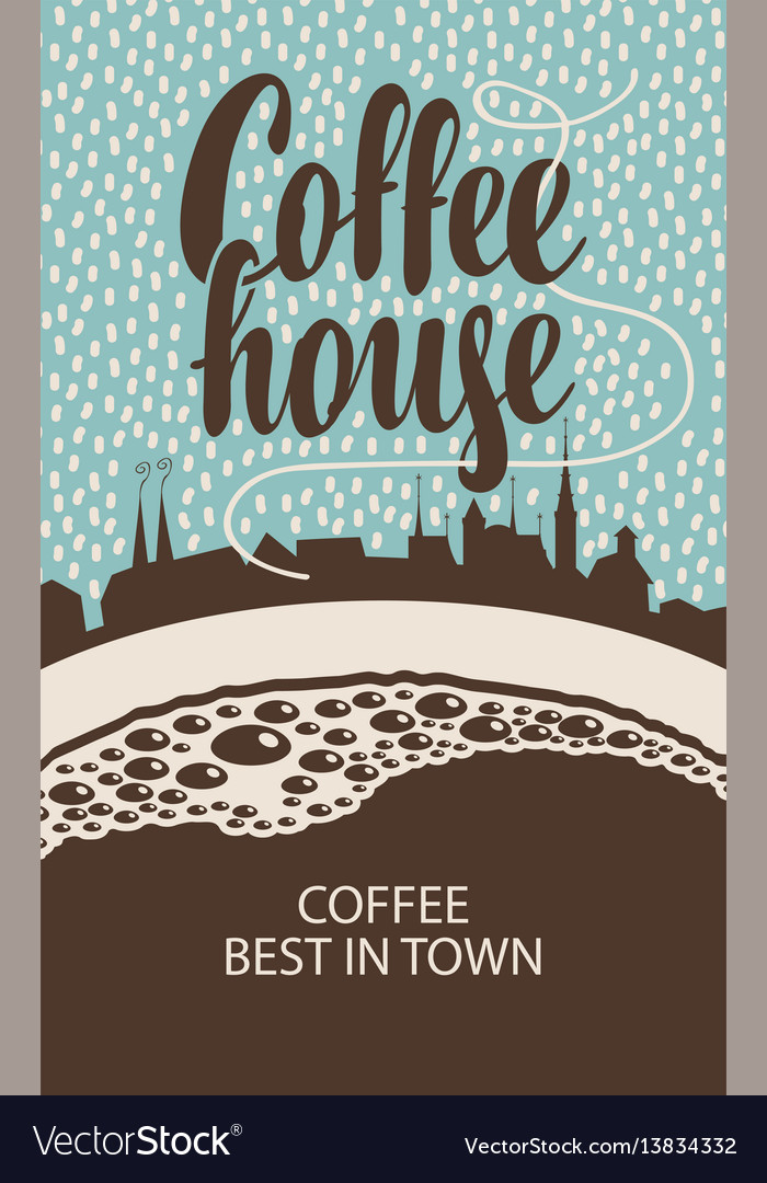 Banner for coffee house with cup and old town vector image