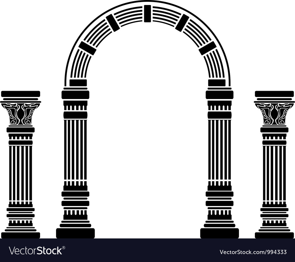 Fantasy arch and columns stencil fourth variant vector image