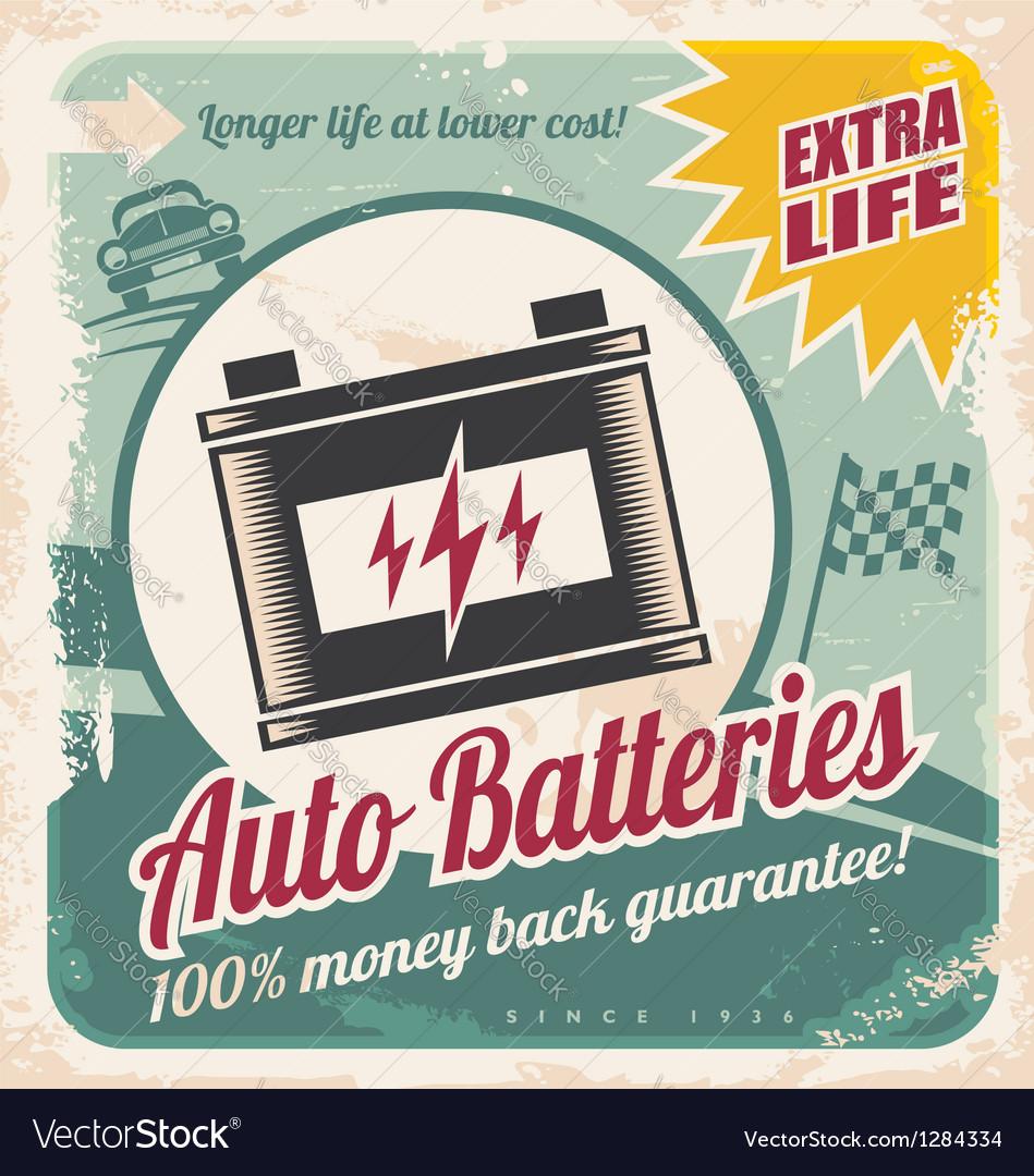 Auto batteries vintage poster design vector image