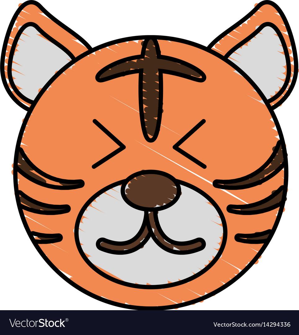 Cute tiger drawing animal vector image