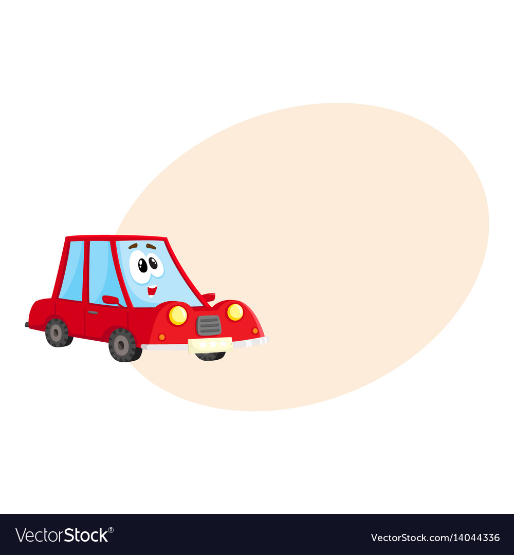 Funny red car character with human face surprised vector image