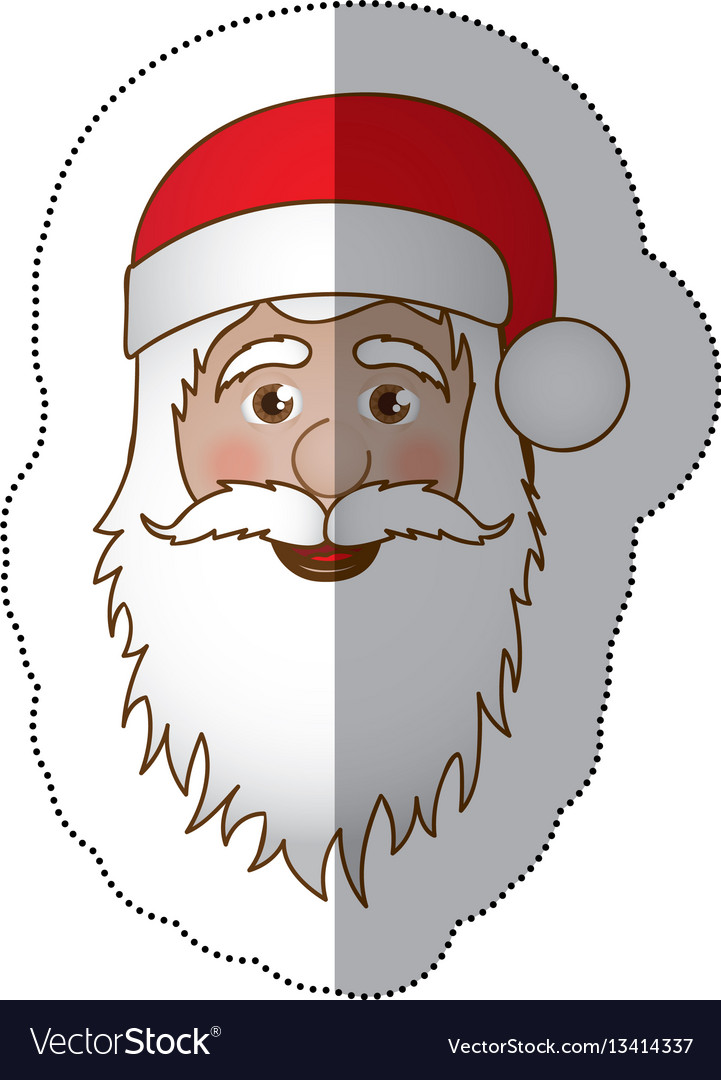 Sticker face cartoon santa claus portrait icon vector image