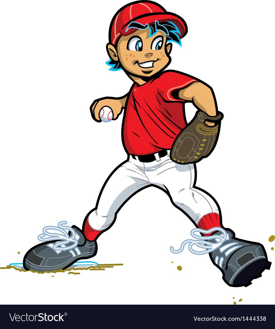 Boy Baseball Pitcher vector image
