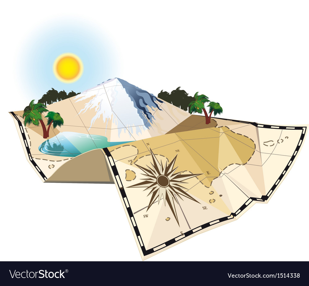 Concept map with moutain and lake vector image