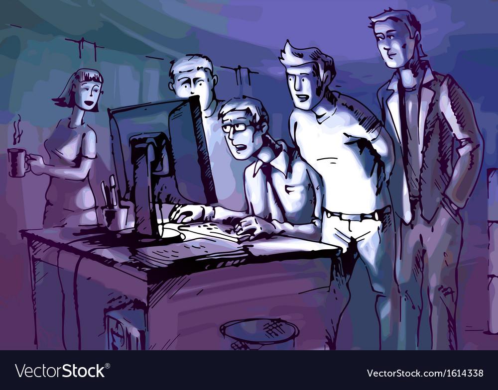 Looking at Monitor vector image