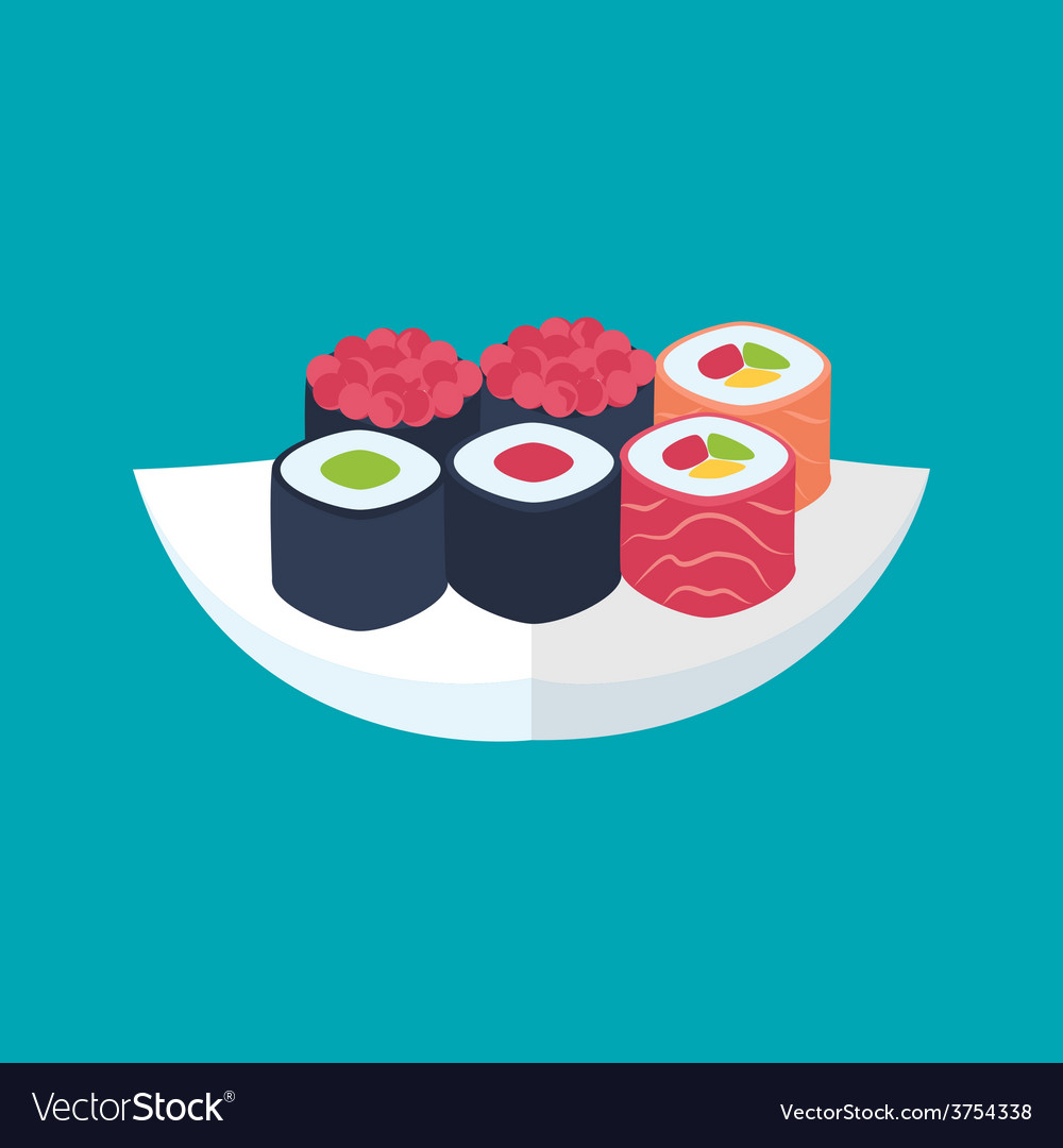 Sushi rolls with caviar tuna and salmon plate vector image